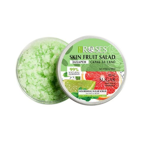 Nature of Agiva Fruit Salad Захарен скраб за лице и тяло с грейпфрут, лайм и мента x200 мл