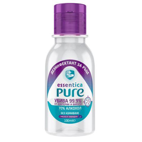 Essentica Pure Дезинфектант за ръце на алкохолна основа х100 мл