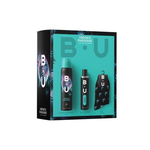 B.U. Hidden Paradise Промо комплект за жени Тоалетна вода, дезодорант спрей и подарък Чорапи