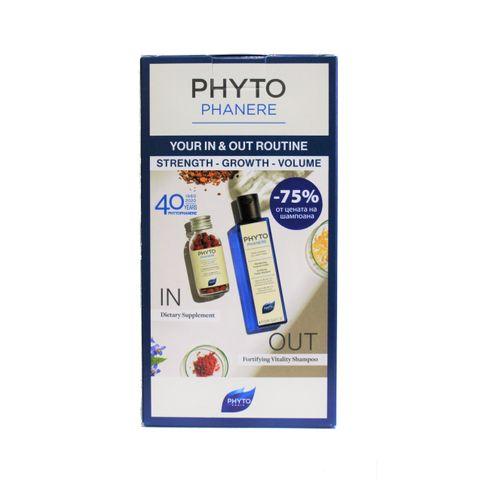 Phyto Phytophanere Промо комплект  Укрепващ ревитализиращ шампоан за всеки тип коса и Хранителна добавка за жени при косопад и чупливи нокти