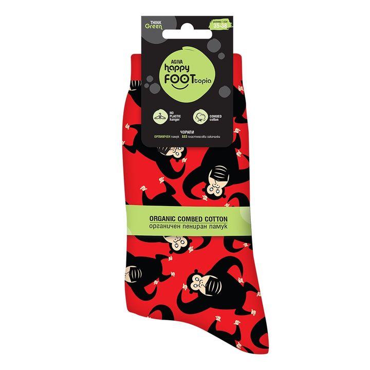 Agiva Happy Foottopia Чорапи от органичен пениран памук  Маймуна, размер 35-38
