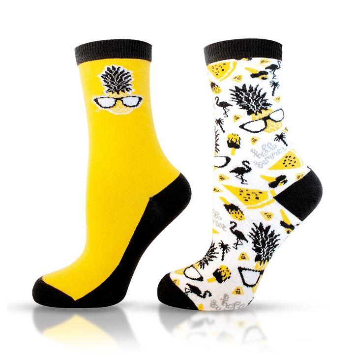 Agiva Happy Foottopia Чорапи от органичен пениран памук Ананас, размер 35-38