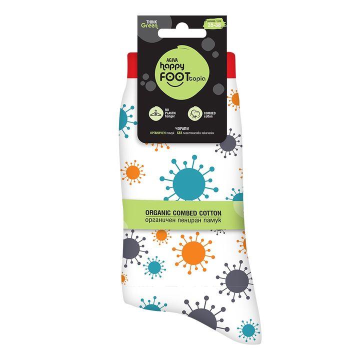 Agiva Happy Foottopia Чорапи от органичен пениран памук Вирус, размер 35-38