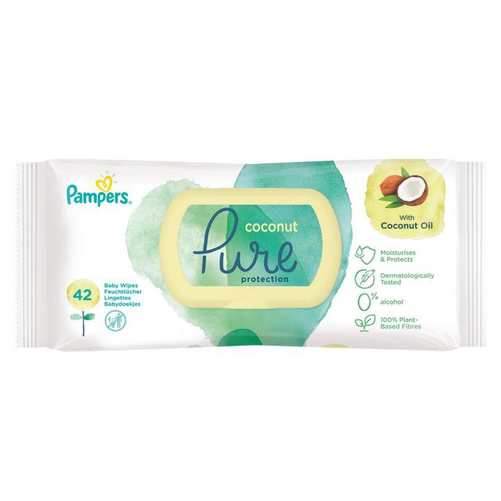 Pampers Coconut Pure Protection Бебешки мокри кърпи от органичен памук и кокосово олио x42 броя