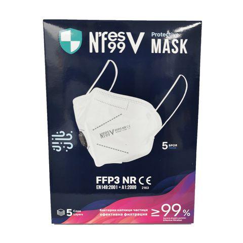 N'FES 99V Предпазна маска FFP3 NR с въздушна клапа Бяла х5 броя