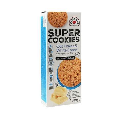 Vitalia No Sugar Cookies Овесени бисквити с ванилия, бял крем и чиа х180 грама