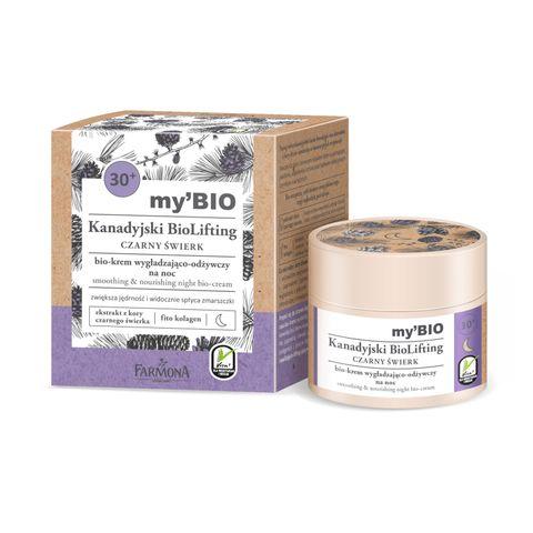 Farmona Canadian Biolifting Изглаждащ и подхранващ нощен био крем с черен смърч 30+ за всеки тип кожа x50 мл