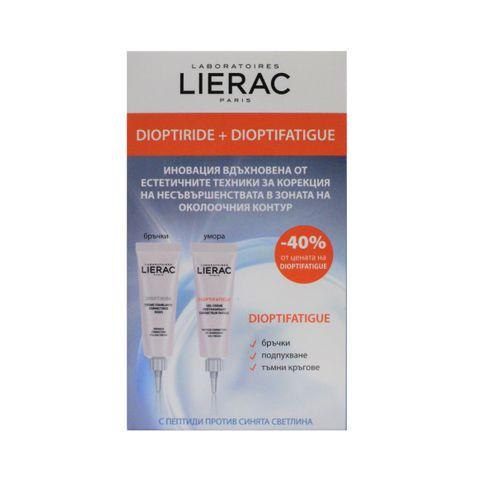 Lierac Промо комплект  Dioptiride Околоочен крем против бръчки и Dioptifatigue Енергизиращ околоочен гел-крем против умора