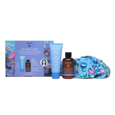 Apivita Промо комплект Aqua Beelicious Хидратиращ крем за лице с богата текстура за нормална към суха кожа, почистващa крем-пяна за лице и очи с маслина и лавандула и Цветна бандана за коса