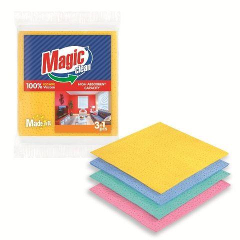 Magic Clean Универсални почистващи кърпи от вискоза x3 +1 броя