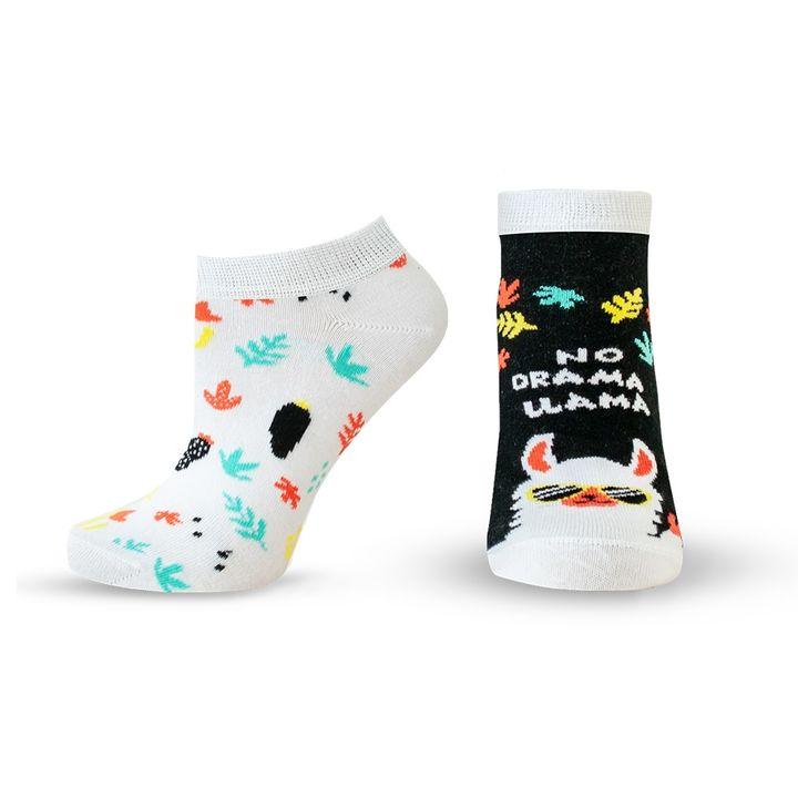Agiva Happy Foottopia Къси чорапи от органичен пениран памук Лама, размер 39-42