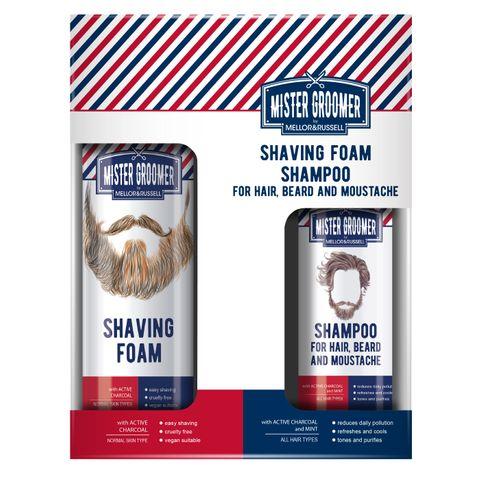 Mister Groomer Промо комплект Пяна за бръснене и Шампоан за коса, брада и мустаци