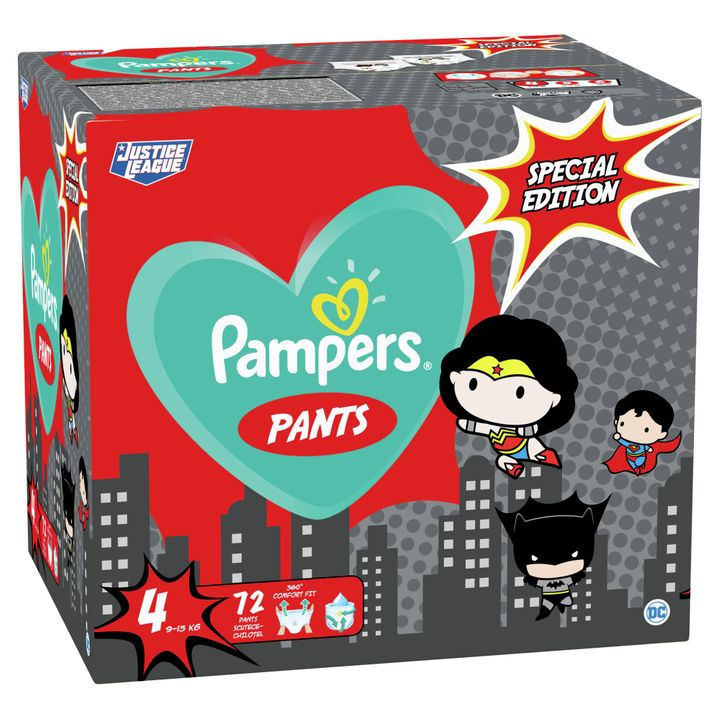 Pampers Pants Special Edition 4 Maxi Пелени-гащи ''Justice League'' за бебета от 9 до 15 килограма x72 броя