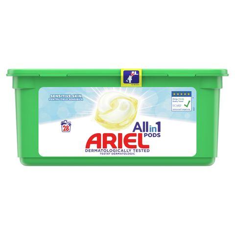 Ariel All in 1 Sensitive Гел капсули за пране за чувствителна кожа 28 броя x24.2 грама