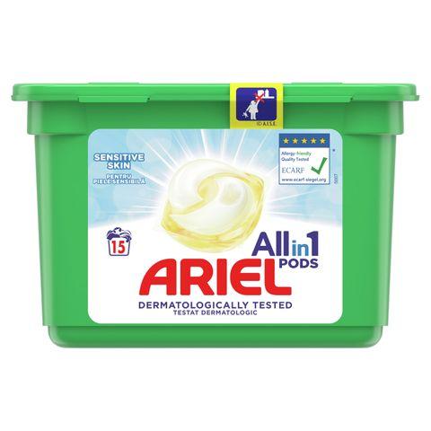 Ariel All in 1 Sensitive Гел капсули за пране за чувствителна кожа 15 броя x24,2 грама