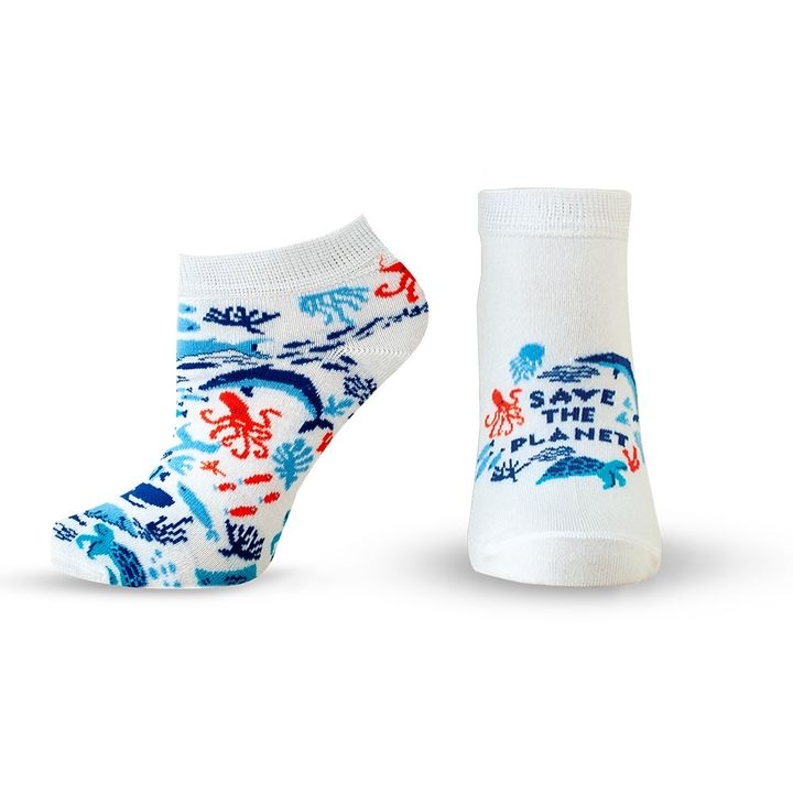 Agiva Happy Foottopia Къси чорапи от органичен бамбук Риби, размер 43-46