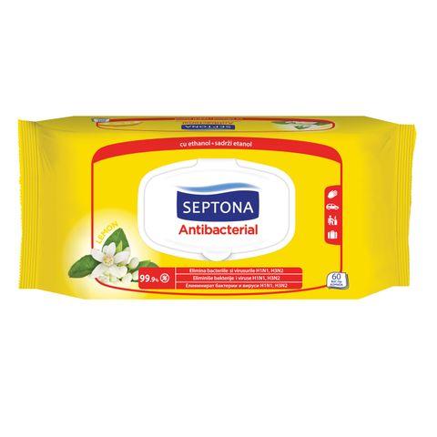 Septona Антибактериални мокри кърпи за ръце с аромат на лимон х60 броя