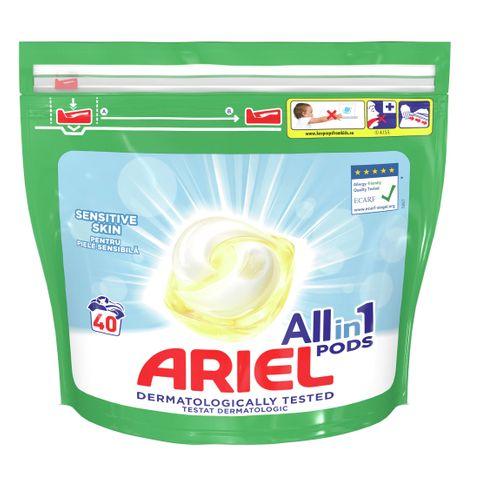 Ariel All in 1 Sensitive Гел капсули за пране за чувствителна кожа 40 броя x24.2 грама