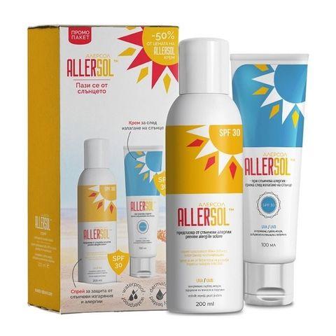 Naturpharma Allersol Промо комплект Противоалергичен слънцезащитен спрей SPF30 и Противоалергичен слънцезащитен крем за след слънце SPF30