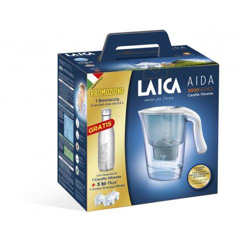 Laica Промо комплект Carmen Aida Филтрираща кана, 3 бр. Bi-Flux Универсален филтър и Inox бутилка 500 мл