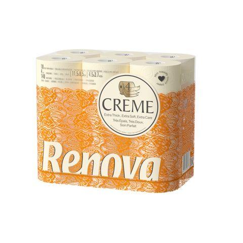 Renova Creme Тоалетна хартия x18 броя, бежова