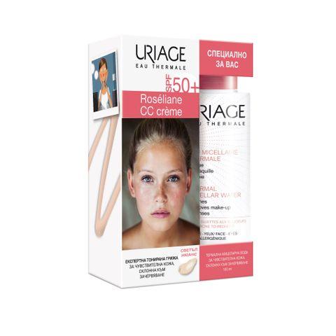 Uriage Промо комплект Roseliane СС Хидратиращ защитен крем за корекция на тена SPF50, светъл нюанс и Термална мицеларна вода за лице за чувствителна кожа склонна към зачервяване