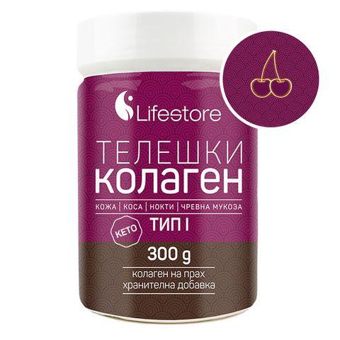Lifestore Телешки колаген тип 1 на прах с вкус на череша х300 грама