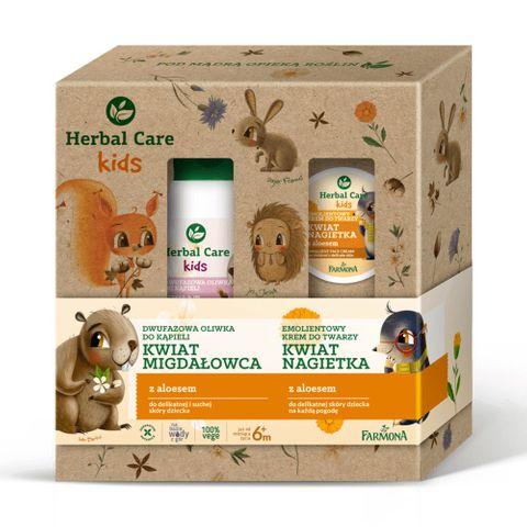 Farmona Herbal Care Kids Промо комплект за деца Двуфазно душ олио за тяло и Емолиентен омекотяващ крем за лице