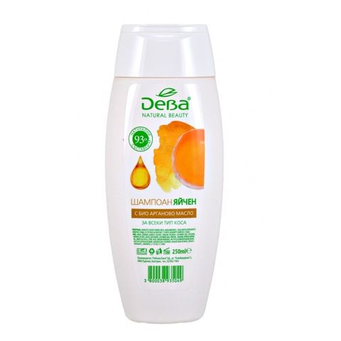 Deva Natural Beauty Шампоан Яйчен с био арганово масло за всеки тип коса x250 мл