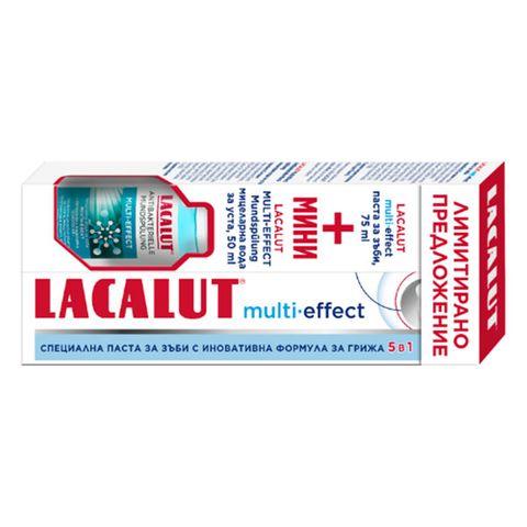 Lacalut Multi Effect Промо комплект паста за зъби 5в1 и вода за уста